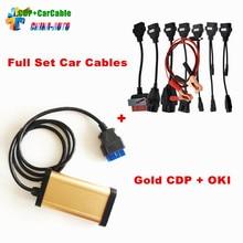 Oro CDP Con El bluetooth y la viruta de OKI!! 2013.3 R3 TCS CDP Pro plus con Full set 8 cables del coche herramientas de diagnóstico autos