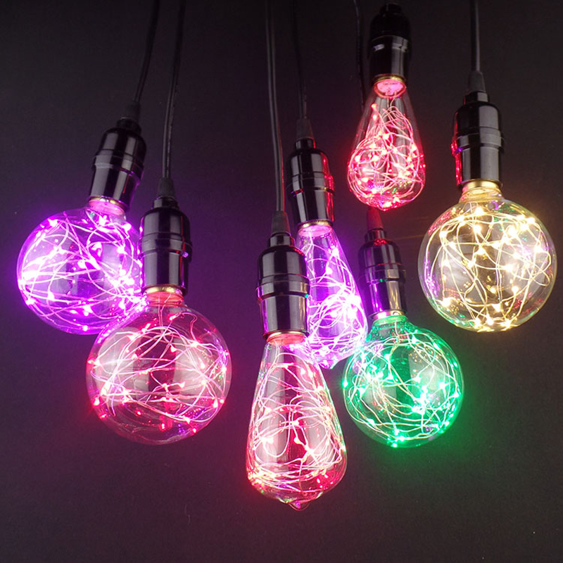 new e27 decor light led rgb edison starry fairy string colorful light bulb ac220v christmas. Black Bedroom Furniture Sets. Home Design Ideas