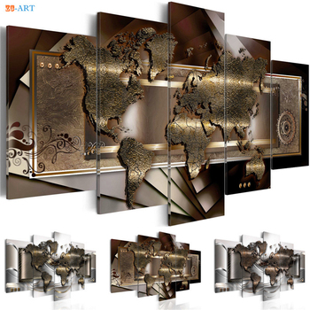 Mapa świata wydruki plakat malarstwo ścienne 5 sztuk nowoczesne abstrakcyjne płótno artystyczne zdjęcia modularne na dekoracje biurowe