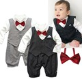 Free Shipping 1pc Newborn Baby Boy Kid Toddler Infant Bowtie Gentleman Romper Jumpsuit One Piece Clothes Set Stripes  Black