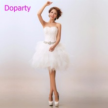 Doparty XS2 Ball Gown Tulle Sleeveless Sweetheart Summer Style Elegant Luxury White Short Feather Cocktail Party Dresses