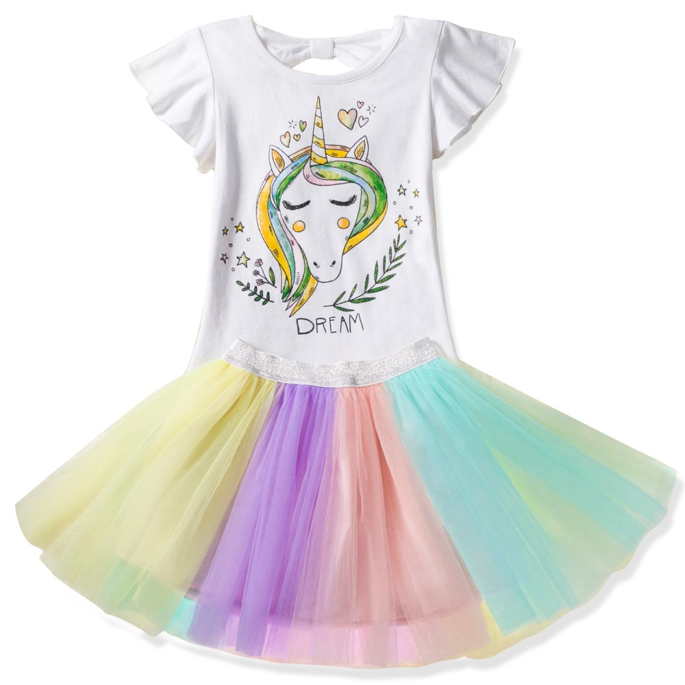 Fancy Dress For Girls Unicorn Party Dress Up Rainbow Kids Dresses For Girls Princess Girl Halloween Carnival Costume Tutu Wear Mother & Kids