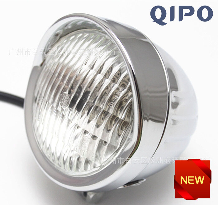 QIPO Chrome Motorcycle Vintage Headlight Auxiliary Spot Fog Passing Lamp with for Housing Ring Mount Bracket for Harley Glide