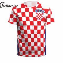 a0b4de353de7290 Feelincolor Хорватия мира для мужчин футболки флаг Цифровой 3D печатных  футболка с круглым вырезом Croacia человек короткий рука.