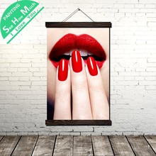 Red Lips and Nail Scroll Painting Canvas Vintage Poster Prints Wall Art Pictures Living Room Bedroom Farmhouse Decoration