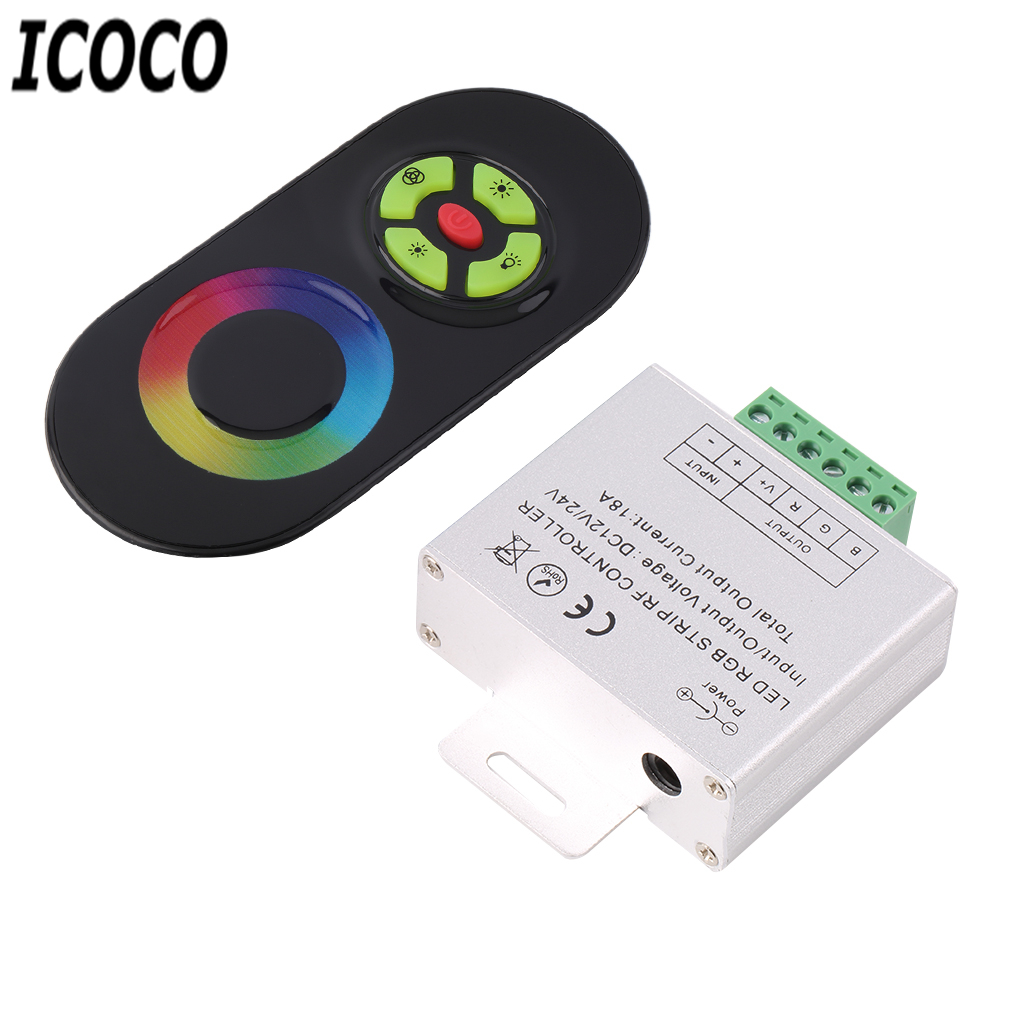ICOCO Black/White WirelessRF Remote Controller For SMD 5050/3528 RGB LED Strip Light Touch Dimmer RGB Strip Light Controler