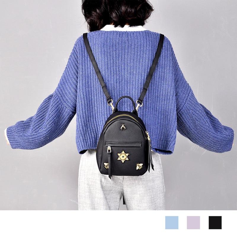 Black Backpack Women Leather Backpacks Embroidery Girl Fashion Rugzak  High Quality Pu Travel Back Pack Brand Sac A Dos Femme