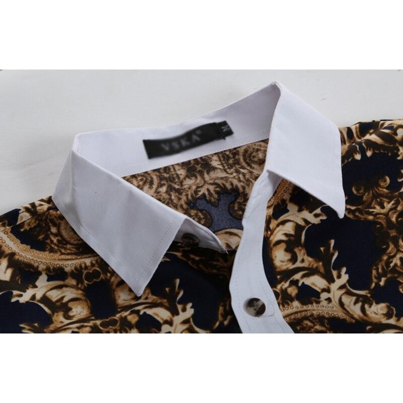 New Men Shirt Male Long Sleeve Shirts Casual Male Shirts 3d Vintage Printing Slim Fit Dress Men's Shirt