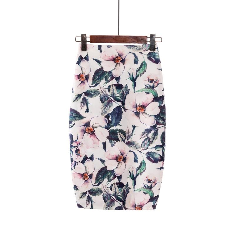Casual kobiety tube spódnice letni nadruk kwiaty Midi spódnica ołówkowa wysokiej talii kobiet do kolan Faldas tubo spodnica Jupe Femme 1