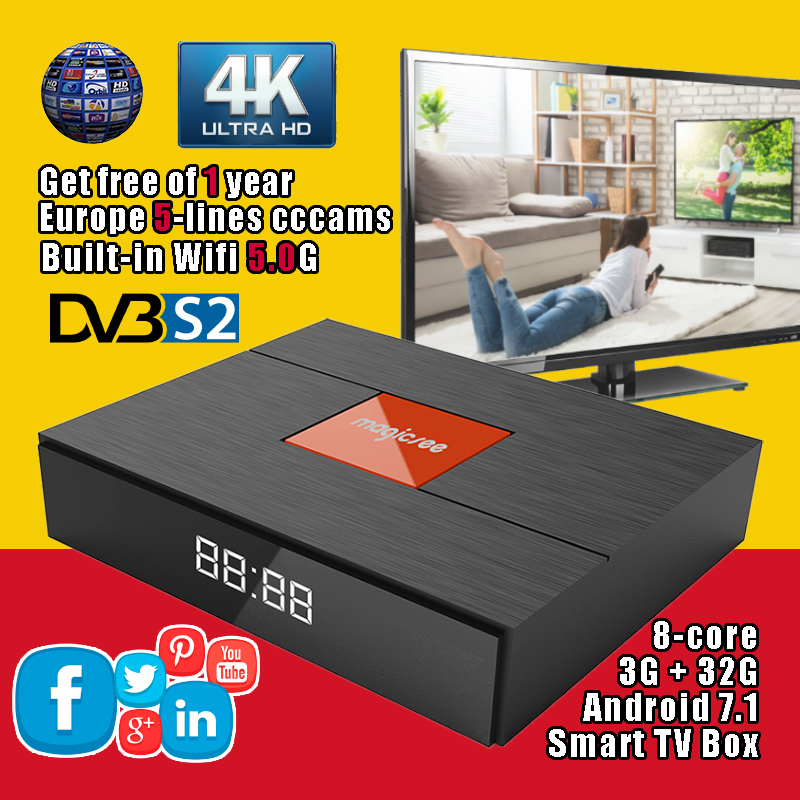 Magicsee C400 Plus 4 k HD Satellite TV Récepteur 3g 32g 8-core Android 7.1 Smart TV boîte Double Wifi 5.0g Bluetooth V4.1 Media Player