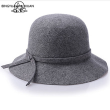 BINGYUANHAOXUAN Womens Autumn Winter Fedora Hat 100% Wool Floppy Wide Brimmed