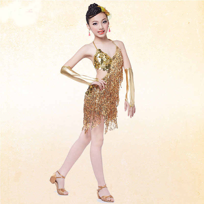 7483d20961ba8 sequin fringe dress dance gold latin competition costumes for girls salsa  dresses with tassels samba clothing children ballroom