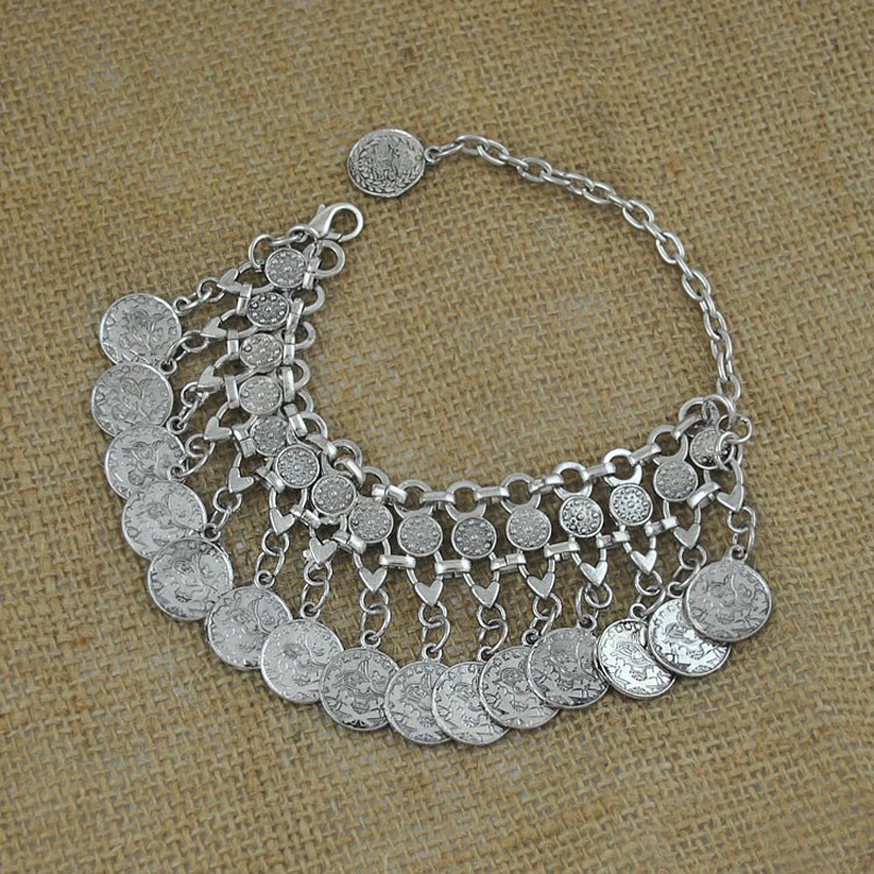 Punk Style Bohemian Turkish Silver Carved Coin Bracelet Antalya Lovers,Gypsy Beachy Chic ...