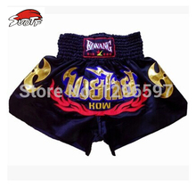 SUOTF Микки атлас с вышивкой шпон класс Муай Тай шорты черные белые штаны боксерский матч