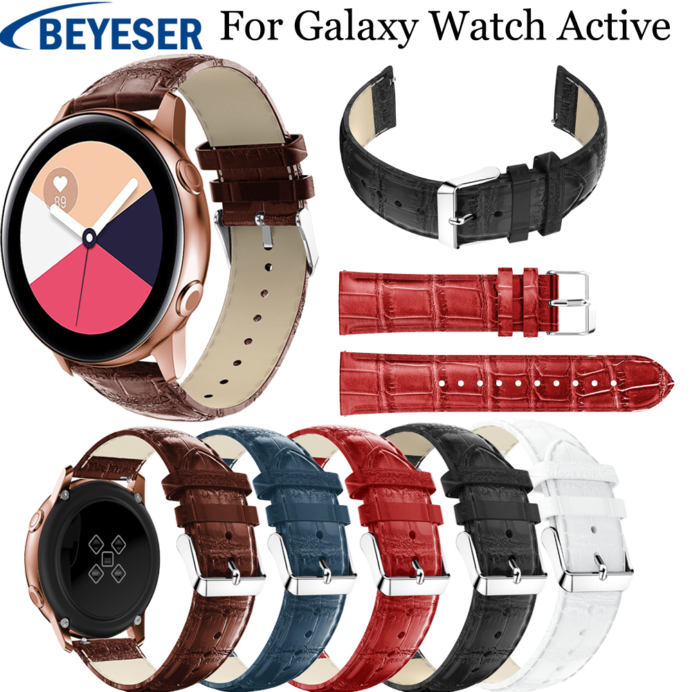 20mm Leather Watchstrap For Samsung Galaxy Watch Active watchband For Samsung Gear S2 sport classic wrist belt bands Accessories