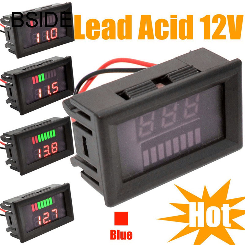 12V ACID Lead Battery Indicator Battery Capacity LCD Tester Voltmeter Charge Level Indicator Lead-acid 12v lead acid battery tester led for car motorcycle gary