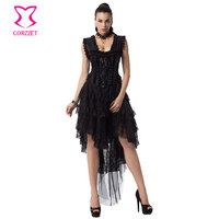 Victorian Fashion Floral Lace Sexy Gothic Clothing Swallowtail Dresses Corsets And Bustiers Steampunk Corset Dress Prom