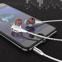 Двойные подвижные круглые наушники бас 3,5 мм в ухо провод управляемый музыка Hifii Металл с микрофоном наушники для телефона 14629