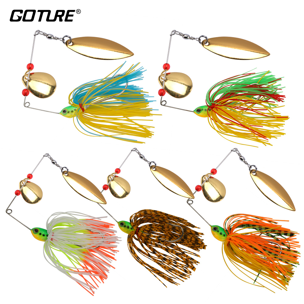 Goture 5pcs//lot Spinnerbaits Bass Trout Fishing Lures Blade Skirt Spinner Bait