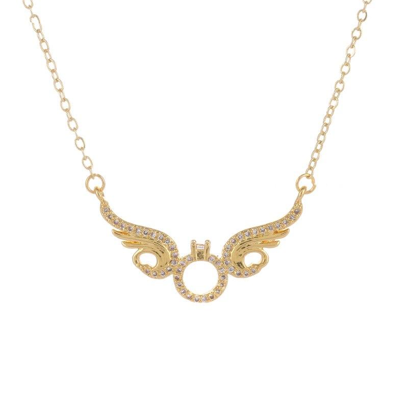 Ali Moda-colgante de ala de Ángel con cristales de circonita, Micro pavé, cadena de eslabones dorados, collar para mujer
