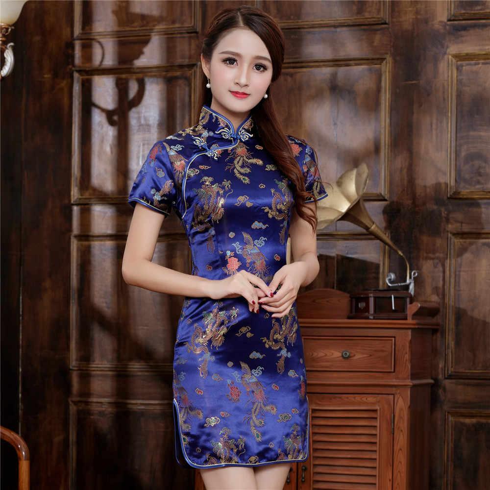 d0d5219f0 Plus Size Chinese Women Qipao Satin Mini Cheongsam Navy Blue 4XL 5XL 6XL  Ladies Sexy Sheath