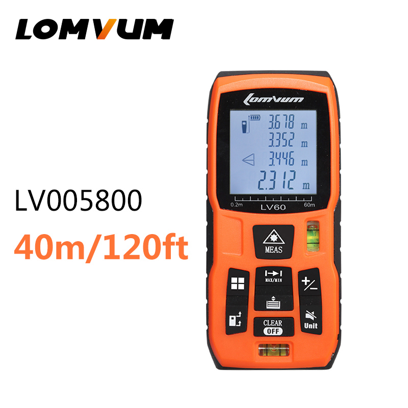ФОТО LOMVUM Digital Laser Distance Meter 40M/120ft Laser Rangefinder /w 2 level bubbles Automatic calculation of Area and Volume