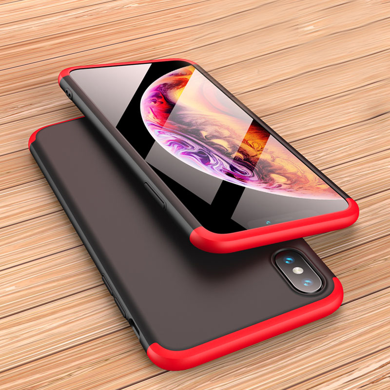 GKK for iphone XR 3 IN 1 anti shock 360 Full protection Matte Hard PC cover for iphone XR XS XS MAX fundas shell Business plain in Fitted Cases from Cellphones Telecommunications