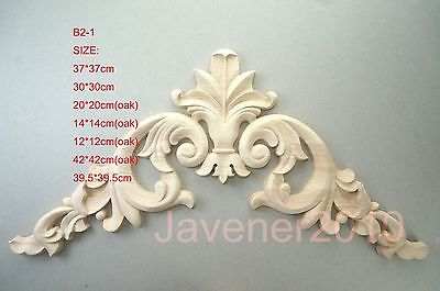 B2-1 -37x37cm Wood Carved Corner Onlay Applique Unpainted Frame Door Decal Working Carpenter Decoration