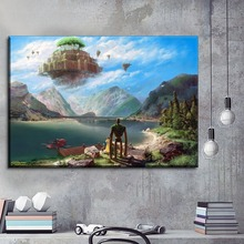Unique Gift Wall Artwork Pictures For Living Room Decorative Art 1 Piece Movie Castle in the Sky Canvas Painting Print Type