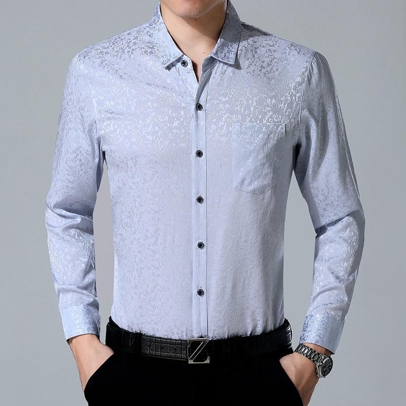 92% Zijde Lange Mouwen Mannen Losse Zijden Shirt Business Leisure Dunne