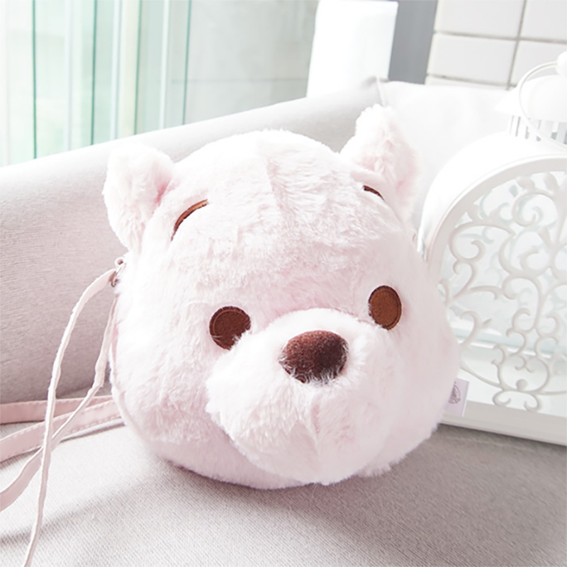 Lovely Pink Cherry Bear Winnie The Pooh Plush And Stuffed Toy Crossbody Bag Shoulder Bag Kids Girls Women Gifts