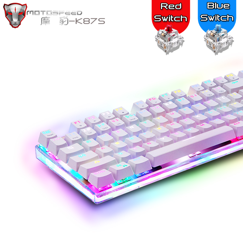 Genuine Motospeed K87S Gaming Mechanical Keyboard 87 Key Red/Blue Switch Anti-Ghosting RGB Backlight Wired Keyboard For PC Gamer