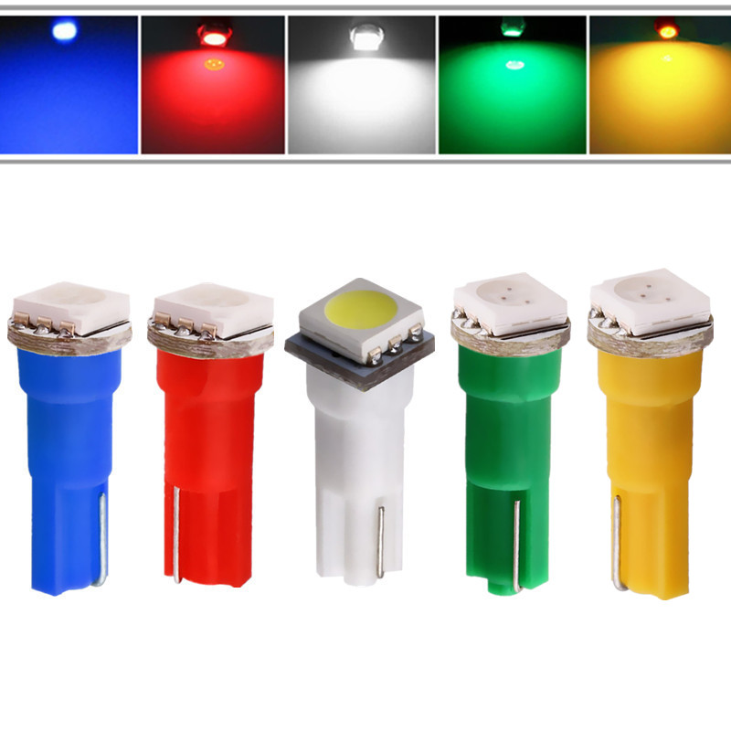 T5 1 SMD 5050 Pure White/Red/Yellow/Blue/Green/Warm White Dashboard Wedge 1 LED Car Light Bulb Lamp Car Interior Lamp 12V uxcell 10 pcs ice blue 3020 smd led vehicles car dashboard dash light lamp internal
