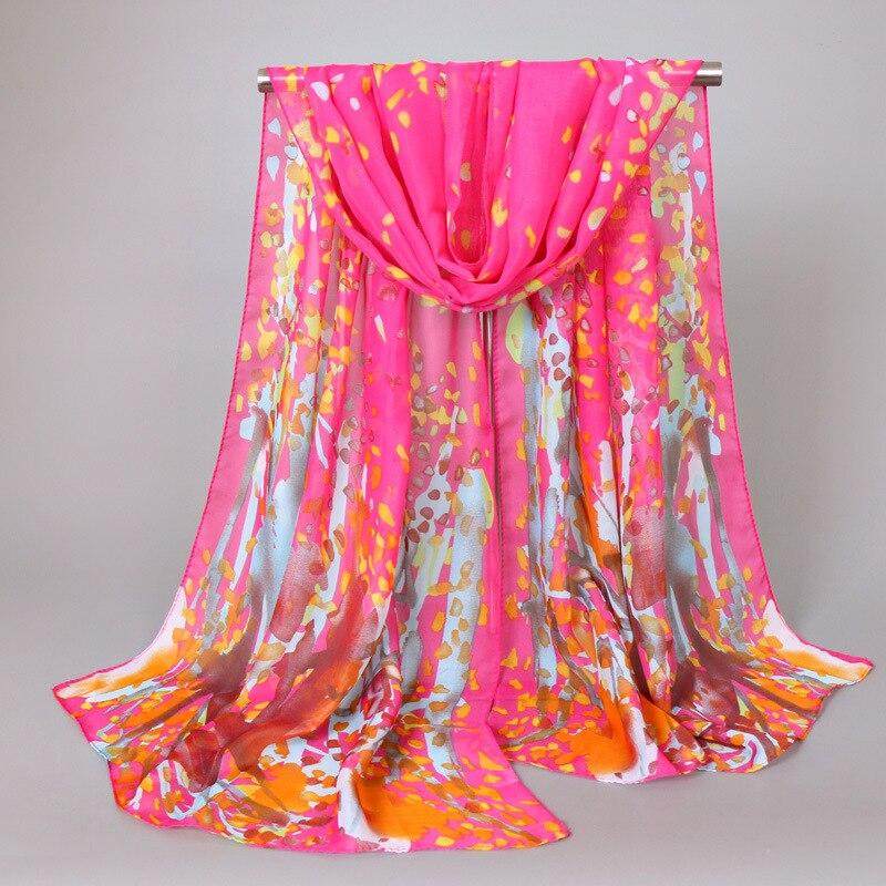 Luxury Brand Women Chiffon Silk   Scarf   Fashion Lady Girls Flower Beach   Scarves   Popular Female   Scarves     Wrap   Shawl Lic