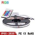 RGB Luz de Tira CONDUZIDA IP65 Impermeável 2835 SMD 60 LEDs/m 5 M RGB Fita Flexível Luzes LED Fita Lâmpada 12 V Controle Remoto IR controlador