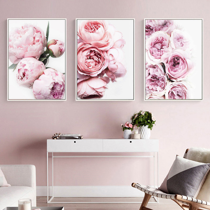 Pink Classical Flowers Nordic Poster Wall Art Canvas Painting Romantic Picture Posters Pictures For Living Room Unframed