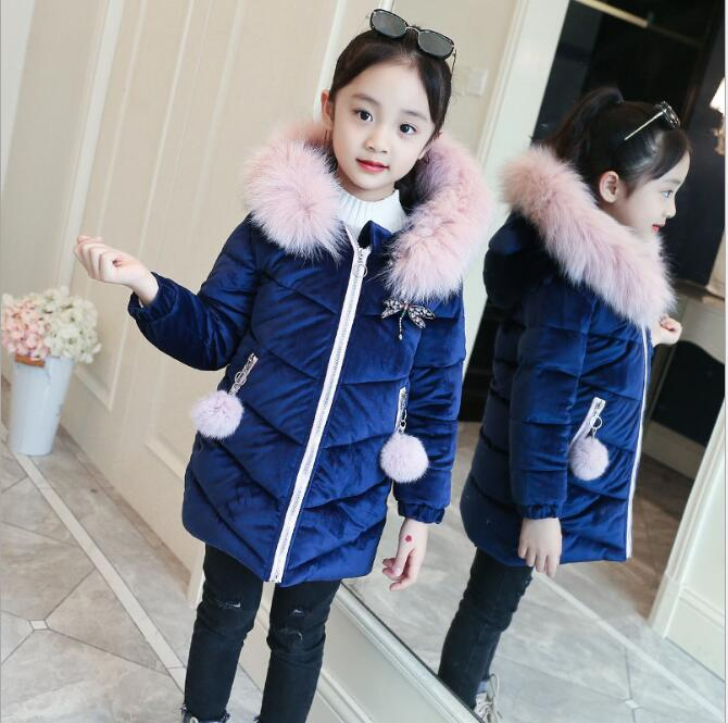 Winter Girls Long Style Padded Jacket kids Winter Coat Kids Velvet Warm Thickening Hooded down Coats For Teenage Girls Outwear 2018 new girls long padded jacket kids winter coat kids warm thickening hooded down coats for teenage outwear 30 winter coat 12