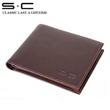 S.C Free Shipping wholesale + real spain leather brown Wallet for men + Bifold Purse +  fashion Leather Gents Wallet QC0003-1