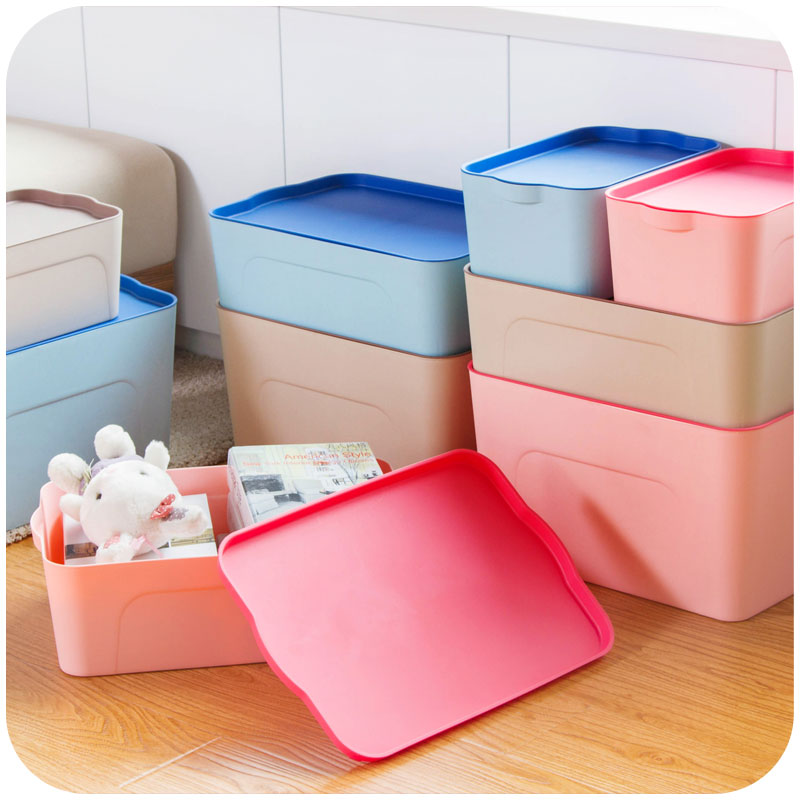 Thick plastic stackable debris sorting box storage box, covered clothing storage box