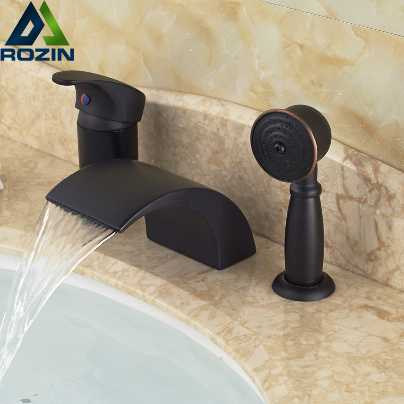 Contemporary Widespread Waterfall 3pcs Bathtub Mixer Faucet Tap Deck Mount with Handheld Sprayer