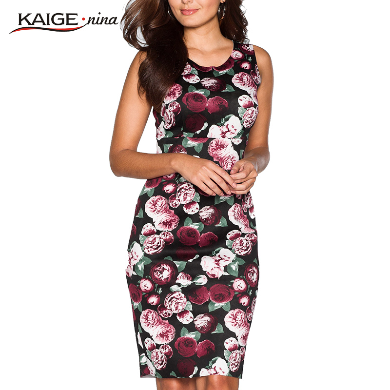 KaigeNina New Fashion Hot Sale Women Flower Print Bez rukávů O-Neck Knee-length Lady Dress 1182