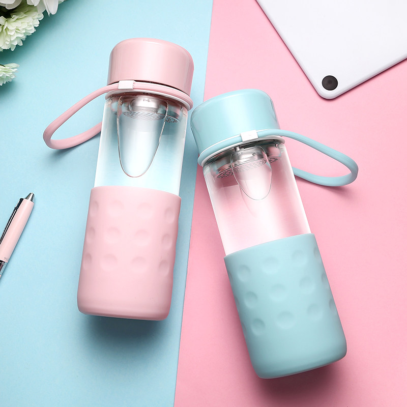 Летние герметичным Стекло прозрачная бутылка воды Портативный с фильтром мило здоровья лимонный сок молоко 300 мл 460 мл
