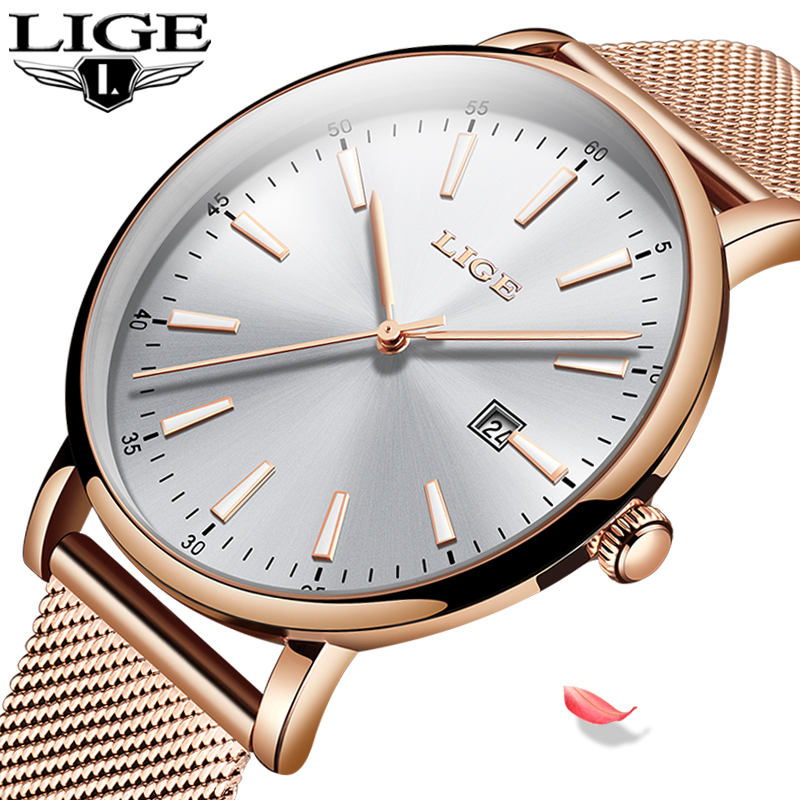 LIGE Women Fashion Gold Blue Quartz Watch Lady Mesh Watchband High Quality Casual Waterproof Wristwatch Moon Phase Clock Women|Women's Watches|Watches - title=