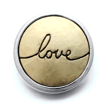 10Pcs/lot Xinnver Snap Metal Gold Love Button Bracelet Bangles Fit DIY 18mm Snap Buttons Charm Bracelets Jewelry ZA338