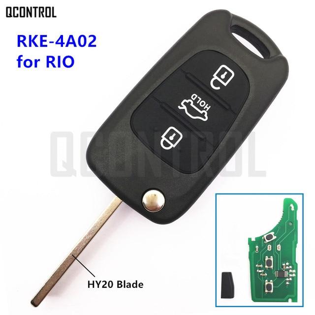QCONTROL Keyless Entry Remote Key for KIA Rio RKE-4A01 or RKE-4A02 with Key Blade HY20