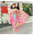High quality  spring and summer chiffon beach towel beach towel upscale satin chiffon scarves multicolor mixed batch