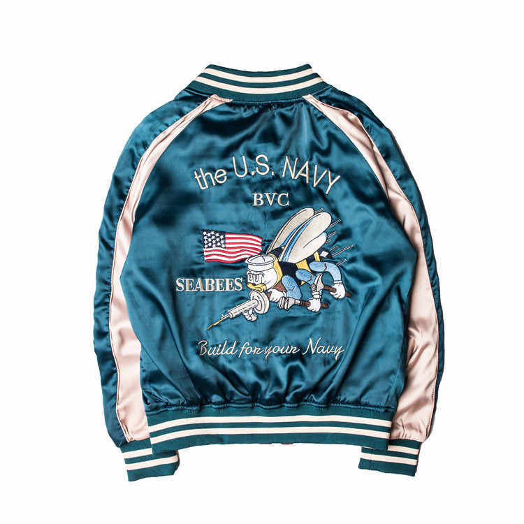 Neue Arrivel 2018 Neue Europäische Marke Stickerei Tuch Tiger Baseball Jacke Zipper Männlichen Yokosuka Paar Mäntel Tiger Bomber Jacke