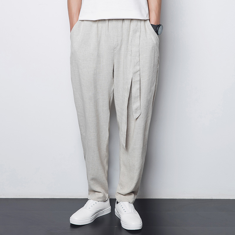 Pants Men's Spring And Summer Simple Chinese Style Harajuku Linen Light Pants / Loose Breathable Harlan Large Size Pants