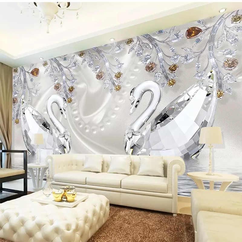 Murale murale personnalisée cristal diamant cygne lac | Bijoux romantiques, Art Mural, salon, arrière-plan de la télévision, tissu, décoration murale pour la maison