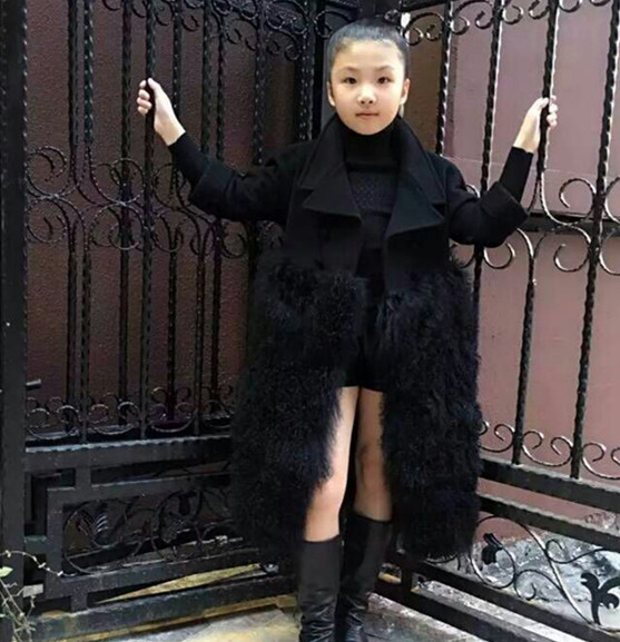 2019 Autumn New! Girl Long Style Woolen Coats Pachworked Faux Sheep Fur Winter Fur Jackets for Girls Wool Coats Slim Fur Clothes